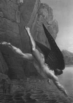 Illustration of a scene from John Milton's Paradise Lost, wherein Satan falls into the river Styx (Hate)by Darodes, c. 1868.
