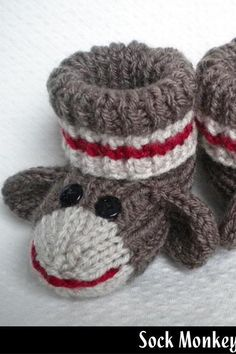 Search for sock monkey mittens on Luulla. Find teen fashion, dresses, wedding dresses, jewelry and accessories on Luulla, a global marketplace for unique products. Knit Slippers Free Pattern, Baby Booties Knitting Pattern, Baby Hats Knitting, Crochet Baby Booties, Baby Knitting Patterns, Knitting Socks, Knitted Slippers, Crochet Sock Monkeys, Crochet Monkey