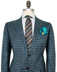 Image of Kiton Navy and Green Check Sportcoat