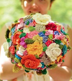 Crocheted wedding bouquet...make the flowers and pin and/or glue to a styrofoam ball. She gives hook and stitch specs, plus you can get a download.