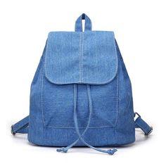 Women Backpack Denim Canvas Travel Bag Teenagers Girls Small School Rucksack  New 33cb591a3bed