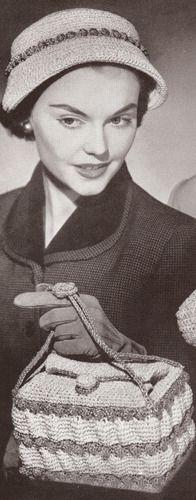 Vintage Crochet PATTERN Cloche Hat Square Bag 40s 50s DaytimeTrim $7.99 - SQUARE PURSE!!!!!