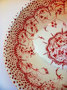 Red and White and Lovely All Over Vintage by poppyhousepottery