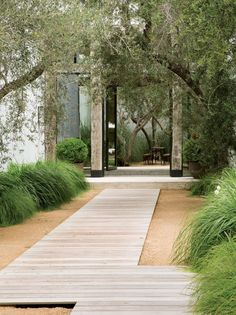 Thin panels of light wood guide you throughout the yard in this modern home.