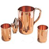 Ayurvedic Pure Copper Water Pitcher Jug Set 2 Water Glasses Cup Tumbler Jug Capacity 54 Ounce Glass Capacity 10 Ounce Smooth Copper