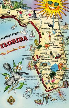 Florida post card map