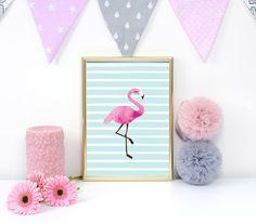 Deko-Objekte - Flamingo Drucken, Kinder Plakat, Rosa Flamingo - ein Designerstück von LovelyDecor bei DaWanda