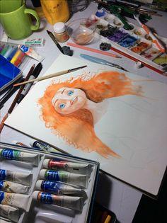 En proceso el fanart de una película que por cierto no habia visto hasta estos dias y me dejó más que cualquier otra. La lección es nunca subestimar las peliculas para el público infantil...perdonen el desorden de mi mesa pero sólo así me siento cómodo 🙂 #Brave #valiente #fanart #acuarela #watercolor #waltdisney #pixar #wip #process
