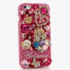 Bling Cases, Personalized Name Custom Made crystals Pink Leopard design case for iphone 5, iphone 5s, iphone 6, Samsung Galaxy S4, S5, Note 2, Note 3, LG, HTC, Sony – LuxAddiction.com