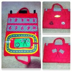 DIY sew Kids toys   Car caddy with learning numbers race track carrying case