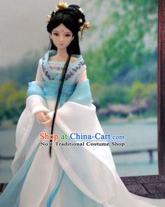 China Civilization Chinese Blue Hanfu Clothing and Hair Jewelry Complete Set for Women