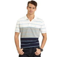 Color Block Striped Deck Polo Shirt - Bright White