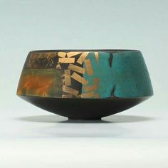 Ues of gold and turquoise painterly glaze. By Tony Laverick, master British potter