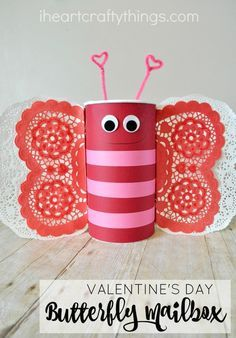 Learn how to turn an oatmeal container into this adorable Butterfly Valentine's Day Mailbox. It's perfect for taking to school on Valentine's Day for the class party. sponsored