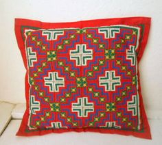 Vintage ethnic boho Quilted embroidered throw by houuseofwren