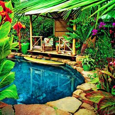 Island themed backyard pool, Los Angeles, CA