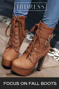 08cbbc81e73 Round Toe Side Zipper Ankle Buckle Plain Platform Women s Boots. Platform  Ankle BootsHigh Heel ...
