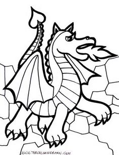 cute dragon breathing fire coloring page free printable