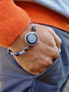 Men's Spiritual Tibetan Om Bracelet with Semi by tocijewelry