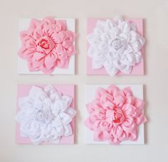 Nursery Wall Decor Set Of Four Light Pink And White Flower Wall Hangings 12 X12 Canvases Flower Wall Art