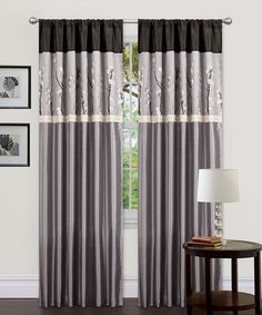 Take a look at this Gray & Black Cocoa Blossom Curtain Panel - Set of Two by Lush Décor on #zulily today!