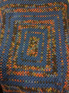 Blue Skies and Red Clay Afghan, Blanket, Throw, Crocheted, nature, Retro, Vintage, Boho, Bohemian, Hippie, Den, Living Room, Bedroom, Dorm by KudzuCatCreations on Etsy
