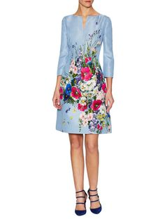 Silk Floral Split Collar Flared Dress by Oscar de la Renta at Gilt
