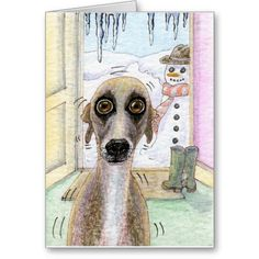 Funny and cute cartoon. Cold Whippet Christmas Greeting card. Dog, pet, animal. Christmas, Seasonal, Festive, Holidays, Gifts, Presents, snow, winter, happy holidays, merry christmas, xmas,