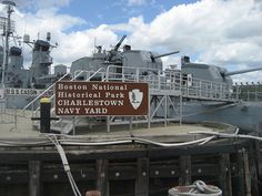 Boston National Historical Park - Charlestown Navy Yard - gateway sign and USS Cassin Young DD 793 by BruceandLetty, via Flickr