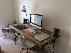 Chic industriel récupéré personnalisé en épingle à cheveux jambe Office Desk Tables. Acier et bois métal peinte à la main by RetroCorner1 on Etsy