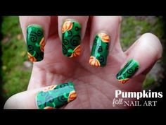 Fall Nails   Easy Autumn Nail Art Design Tutorials   Thanksgiving Nail Art for beginners and Advanced Nail Artists - http://47beauty.com/nails/index.php/nail-art-designs-products/  A beautiful and glittery fall nail art design! Products used: – Base coat – Depend – Top coat – Depend – Brushes – from a local craftstore (I cut them myself) – Black acrylic paint – Pebeo studio acrylics – Kleancolor nail polishes: — #17