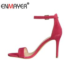 Find More Women's Pumps Information about ENMAYER Ankle Strap Extreme High Heels Buckle Multi Colors Genuine Leather Shoes Women Hot Fashion Summer Women Pumps for Party,High Quality Women's Pumps from ENMAYER Official Store on Aliexpress.com