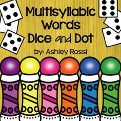Multisyllabic word activities for speech therapy.  If you like my best selling Dice and Dot for Speech and Language, you will love this!