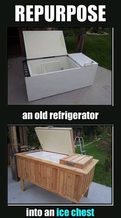Repurpose an old refrigerator into an ice chest. Love for backyard