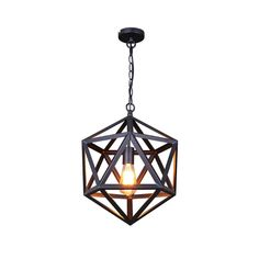 Extra Large Size Industrial Style Matte Black Iron Cage Pendant Light