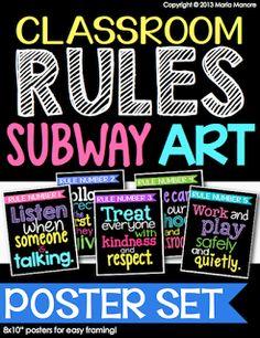 classroom rules subway art. Set of 5 frame-able classroom prints.
