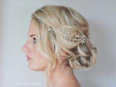 Rice Pearl Crystal Hair Vine Wedding Hair by RoslynHarrisDesigns, $65.00