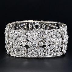 Wide Art Deco Platinum Diamond Bracelet - 40-91-548 - Lang Antiques