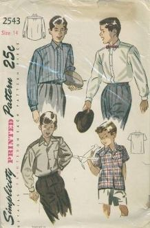 An original ca. 1940's to 1950's Simplicity Pattern 2543.  Boy's Shirt: The gathered shirt back is seamed to the faced yoke. Style I, the man-tailored shrit, is made with a neck band, shirtwaist collar and front band is finished with shirt tails. The long sleeves are partly gathered to the cuffs. The patch pocket is optional. Style II has an open notched collar and no neck band. The straight lower edge is finished with a hem and a pocket is placed at the left side.
