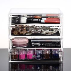 4 Large Drawers Clear Acrylic Cosmetic Makeup Display Organizer Storage Case