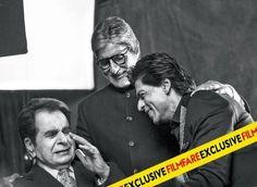 Amitabh Bachchan, Shah Rukh Khan and Dilip Kumar On the Sets of the Filmfare Magazine, 100 years of Indian Cinema Editiion - Cover Photo Shoot