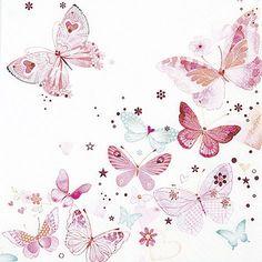 Lot de 20 serviettes en papier Motif envol de papillons