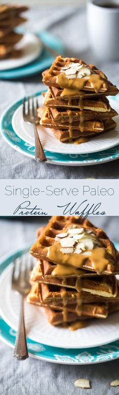 Paleo Protein Waffles - Single serve, packed with protein, and are ready in 5 minutes so you can have healthy. gluten free waffles any day of the week!   Foodfaithfitness.com   @FoodFaithFit