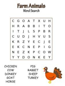 Farm Animals Word Search For Kids