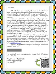 back to school week slp introduction letter for parents teacher