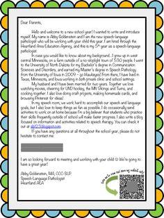 back to school week slp introduction letter for parents teacher