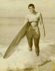Anona Napoleon, circa 1961.  A native of Hawaii, she has been surfing there for nearly 50 years.
