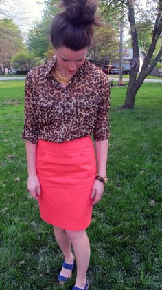 Leopard shirt, coral pencil skirt, blue suede heels  http://secondstreeteast.blogspot.com/2012/04/outfit-to-room_10.html