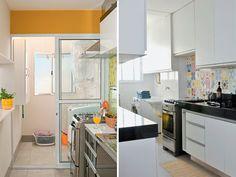 olha o detalhe do azulejo hidraulico na parede da cozinha!