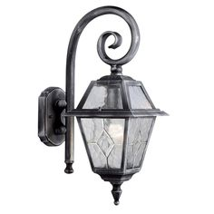 Searchlight GENOA OUTDOOR WALL LIGHT 1 LIGHT BLACK/SILVER